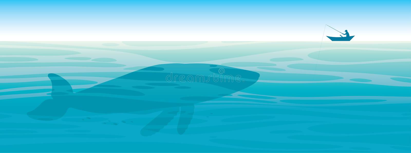 Baleia grande, pescador, mar, céu ilustração do vetor