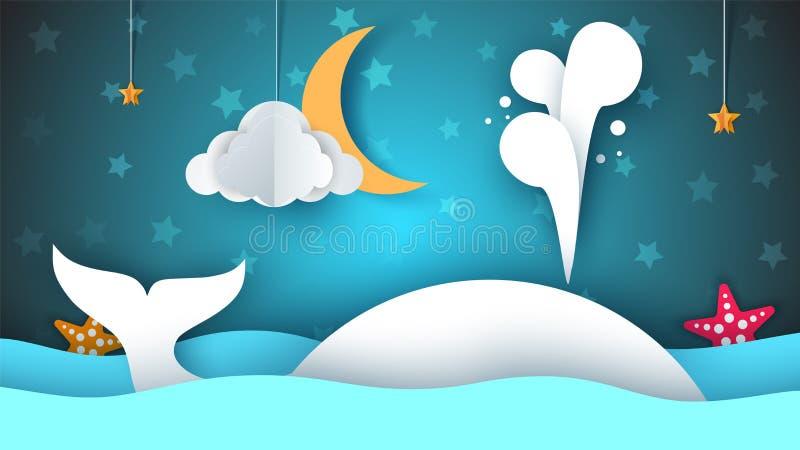 Baleia, mar, estrela, céu, lua - ilustração de papel dos desenhos animados ilustração stock