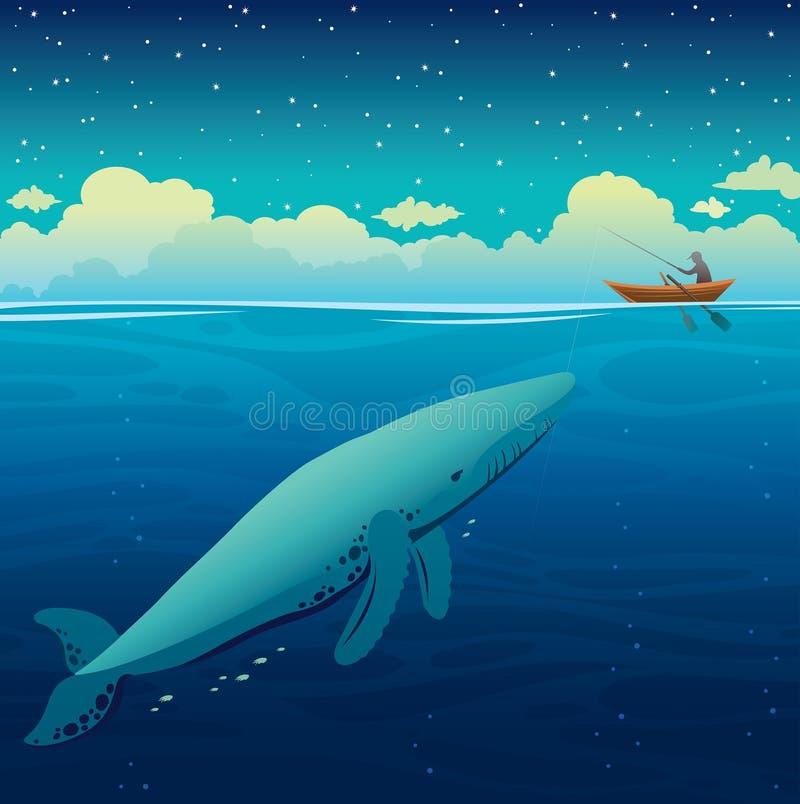 Baleia, pescador e barco grandes, céu noturno, mar calmo ilustração royalty free