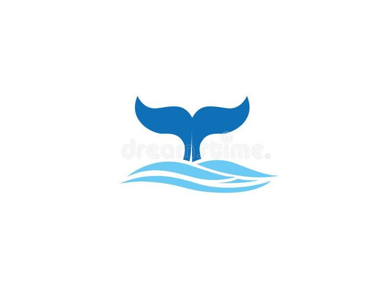 Baleia que mergulha profundamente no mar e na cauda da mostra acima para o projeto do logotipo ilustração royalty free