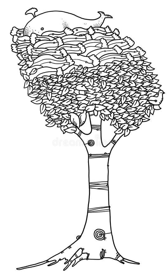 Baleia sobre uma árvore foto de stock