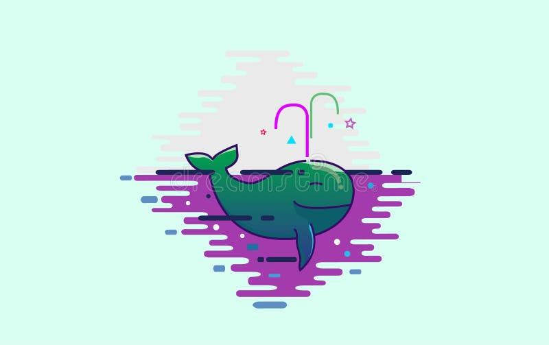 Baleia verde bonito ilustração royalty free