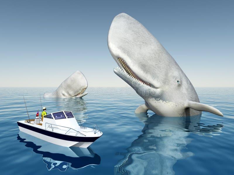 Baleias do pescador e de esperma do mar ilustração do vetor