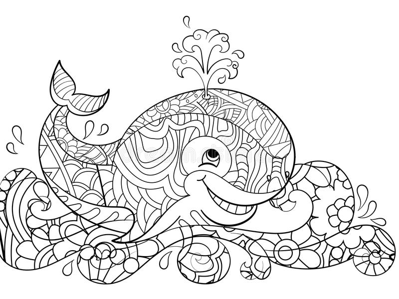 Baleine Antistress de coloration sur les vagues Griffonnages, lignes noires, modèle, fond blanc Grands poissons dans le vecteur d illustration libre de droits