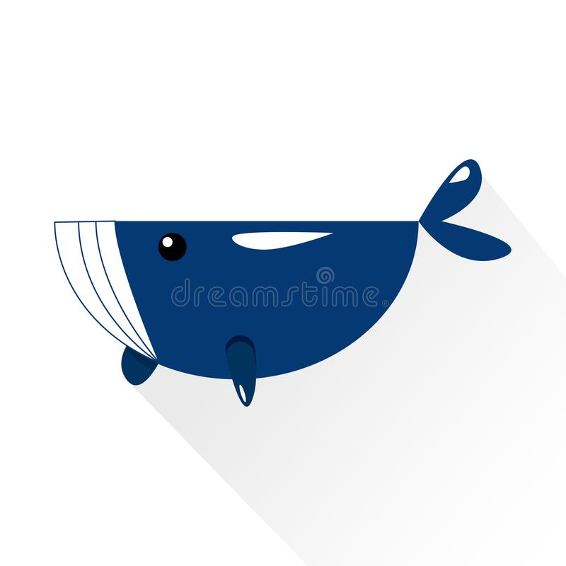 Baleine avec de l'eau éclaboussant alose d'icône plate de personnage de dessin animé la longue illustration libre de droits