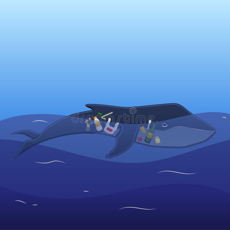 Baleine avec des d?chets ? l'int?rieur illustration libre de droits