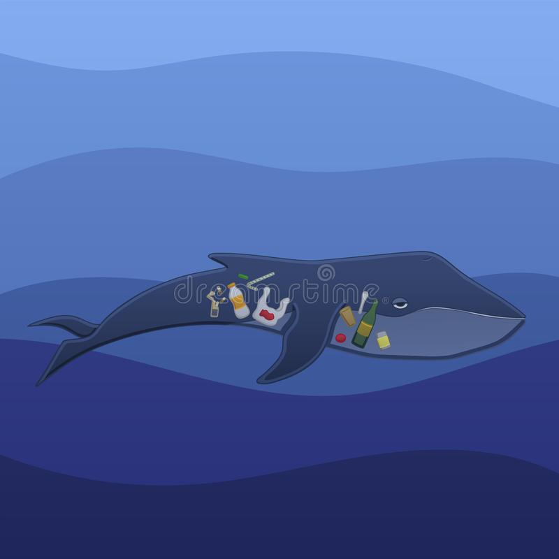 Baleine avec des déchets à l'intérieur sous l'eau illustration stock