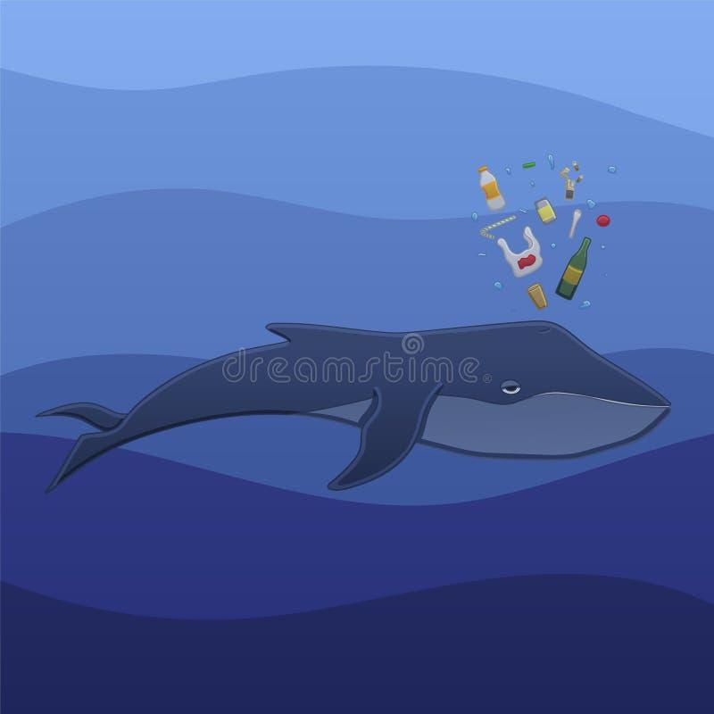 Baleine avec des déchets sous l'eau illustration stock