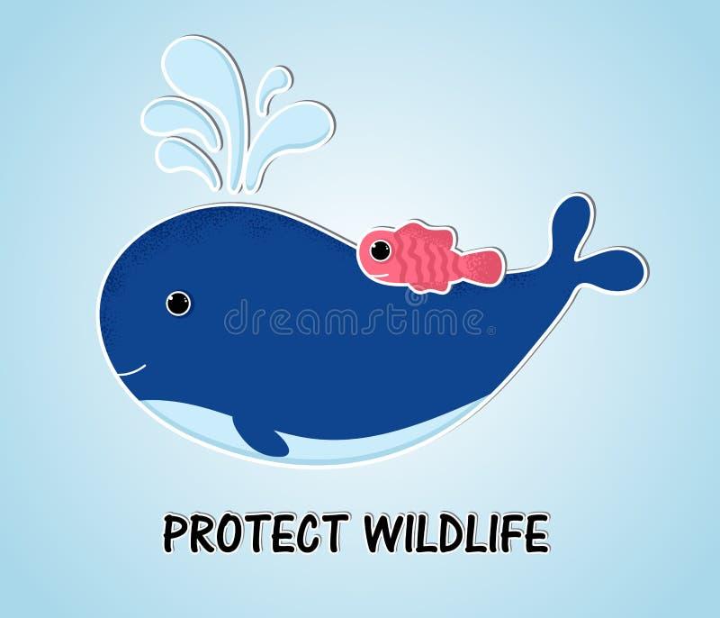 Baleine bleue de style avec des poissons dans l'océan illustration de vecteur