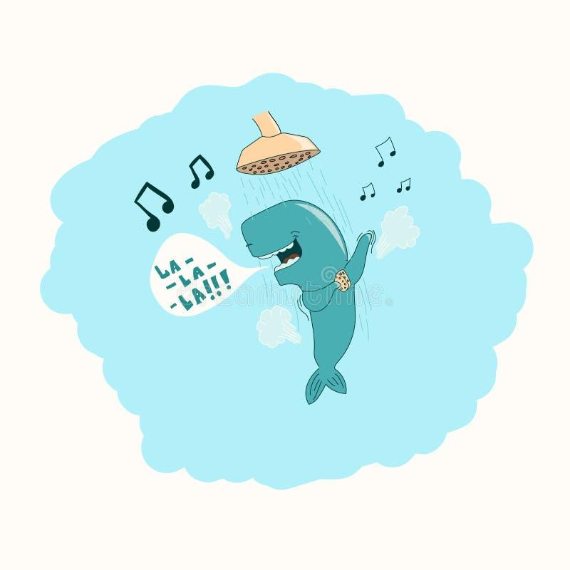 Baleine dans la douche photo stock