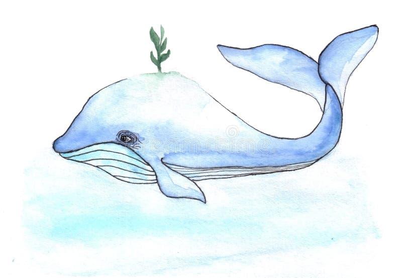 Baleine mignonne d'aquarelles de bandes dessinées avec le petit livre illustration de vecteur