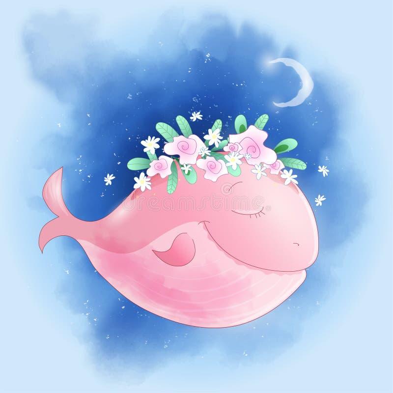 Baleine mignonne de bande dessinée dans le ciel avec l'affiche d'impression de carte postale de maison de roses pour la salle des illustration libre de droits