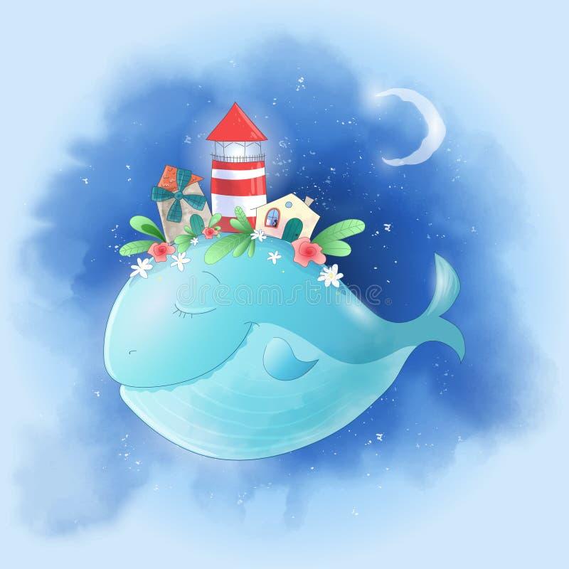 Baleine mignonne de bande dessinée dans le ciel avec une ville sur son dos, une affiche d'impression de carte postale de maison d illustration de vecteur