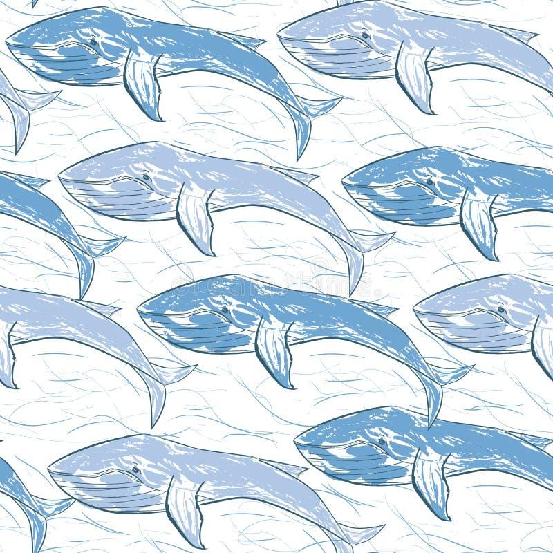 Baleines bleues avec les lignes chaotiques du seamle tiré par la main de vecteur de vagues illustration de vecteur