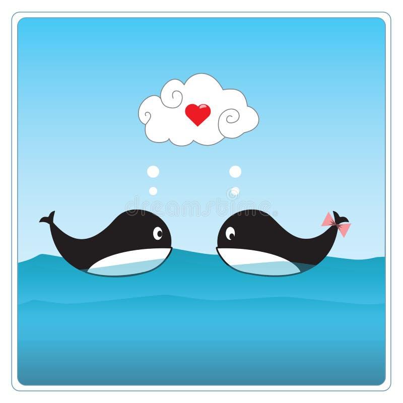 Baleines mignonnes dans l'amour. Illustration de vecteur image libre de droits