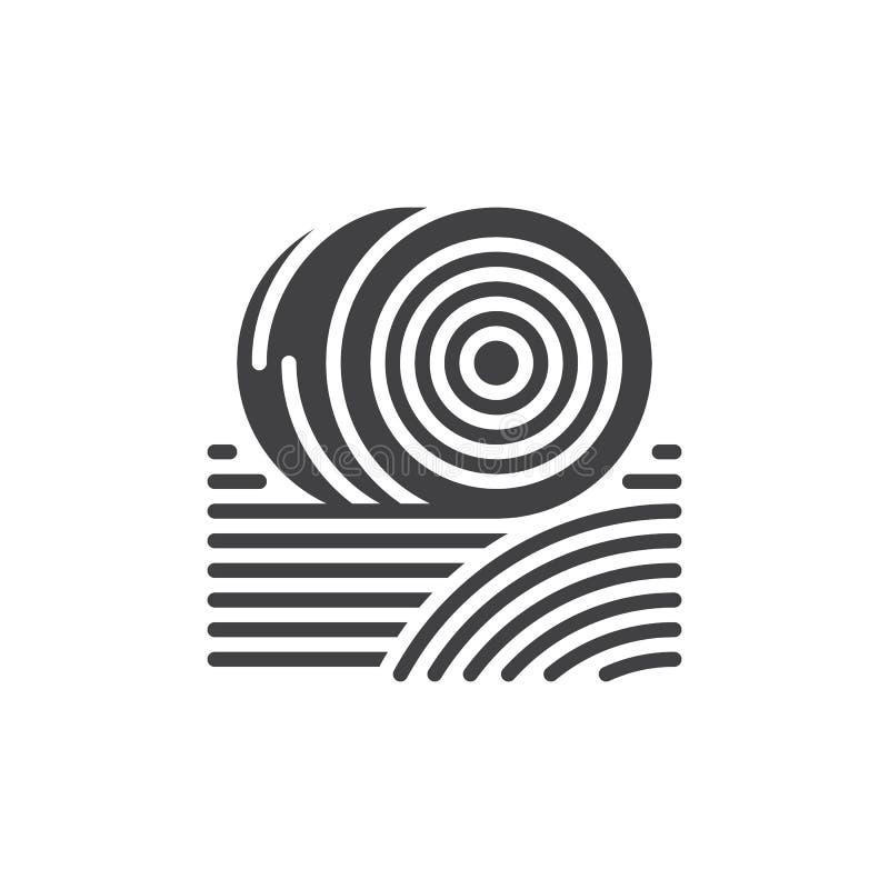 Balen van het vector, gevulde vlakke teken van het hooipictogram, stevig die pictogram op wit wordt geïsoleerd Symbool, embleemil stock illustratie