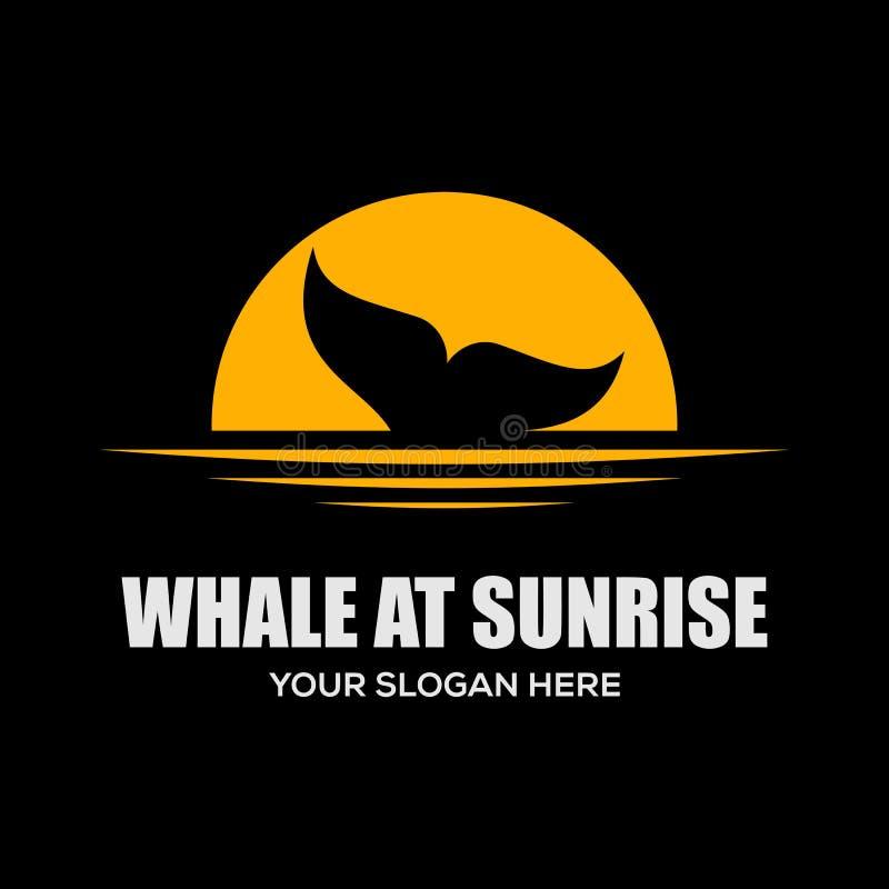 Balena al modello di progettazione di logo di alba come fonte di ispirazione illustrazione vettoriale