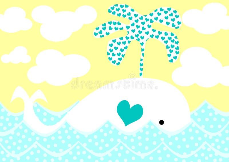 Balena che spruzza la scheda di giorno dei biglietti di S. Valentino dei cuori illustrazione vettoriale
