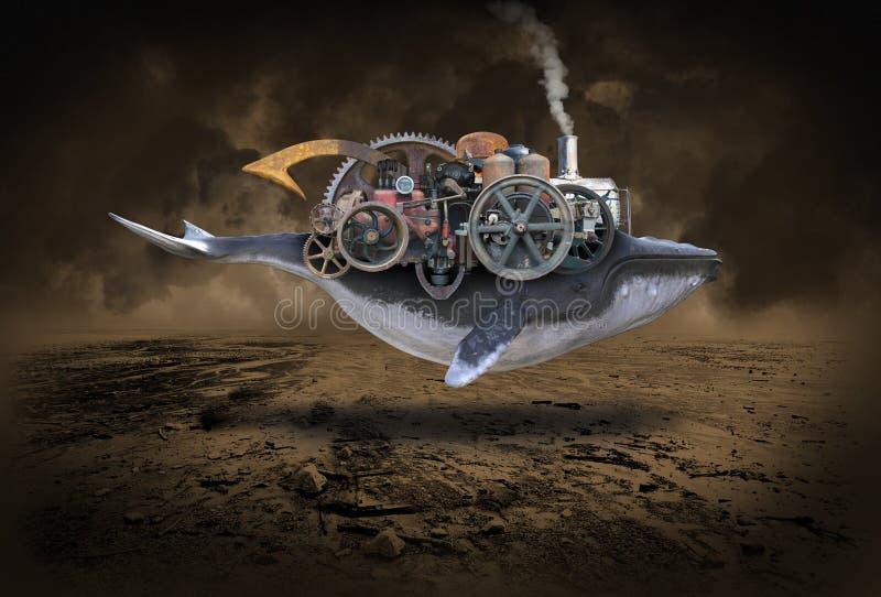 Balena di Steampunk, macchina di volo, immaginazione immagini stock