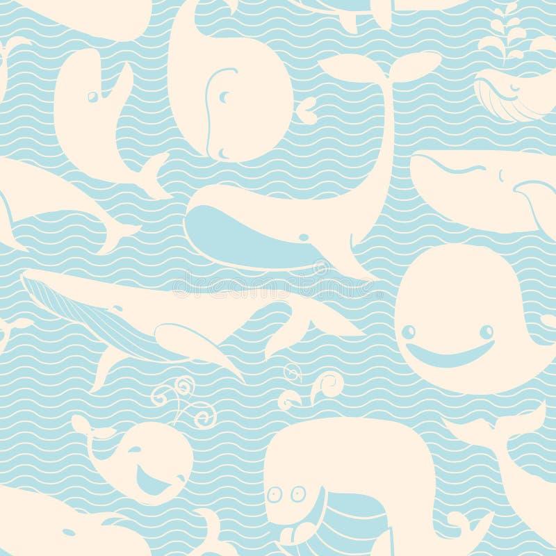 Balena. Fondo senza cuciture. royalty illustrazione gratis