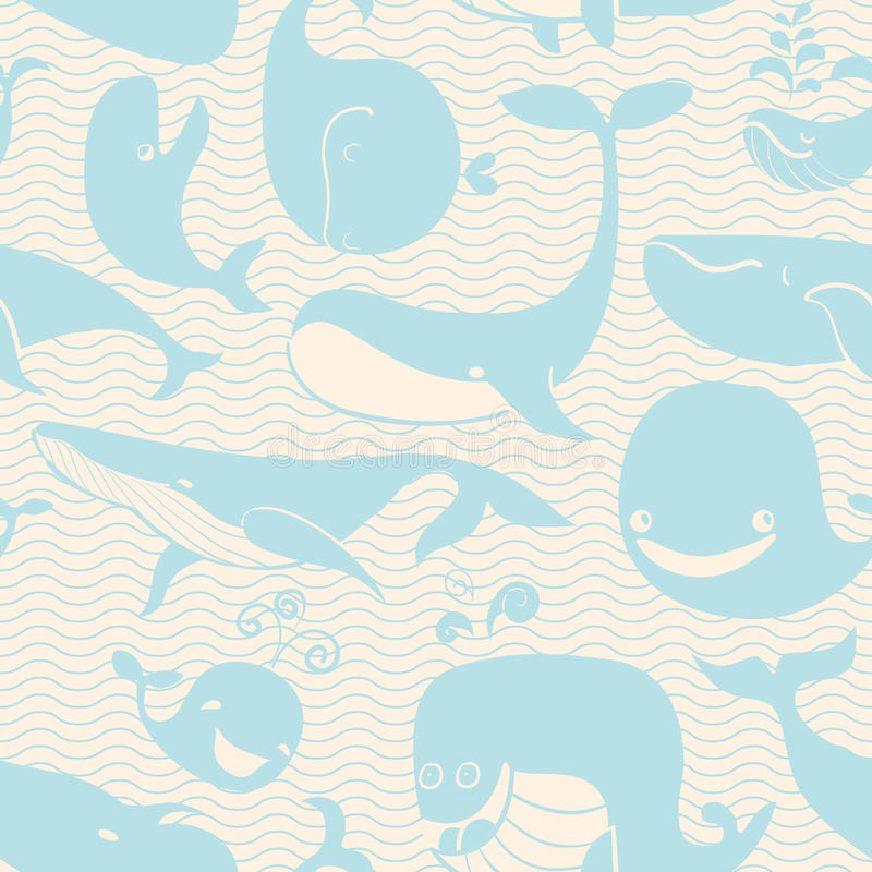 Balena. Fondo senza cuciture. Il modello senza cuciture può essere usato per wal illustrazione di stock