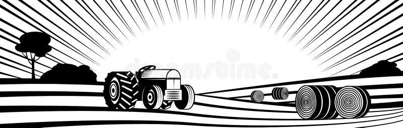 Baler för jordbruks- traktor och rundahöi lantligt landskap med kullar och fält vektor illustrationer