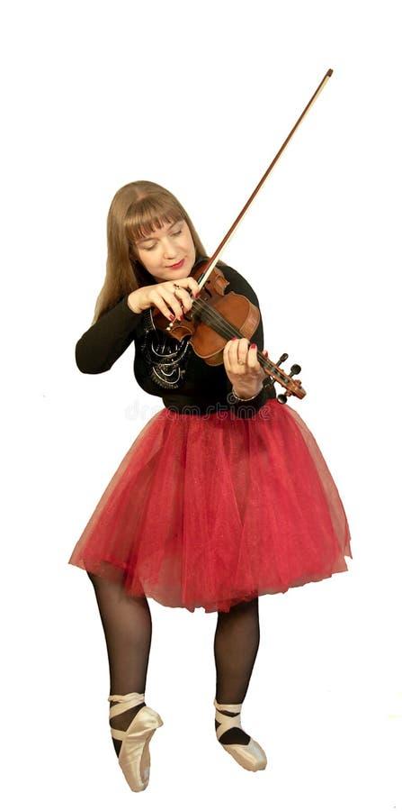 Balerina bawić się skrzypce obraz stock