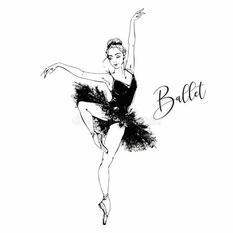 Balerina Czarny łabędź balet taniec również zwrócić corel ilustracji wektora ilustracja wektor