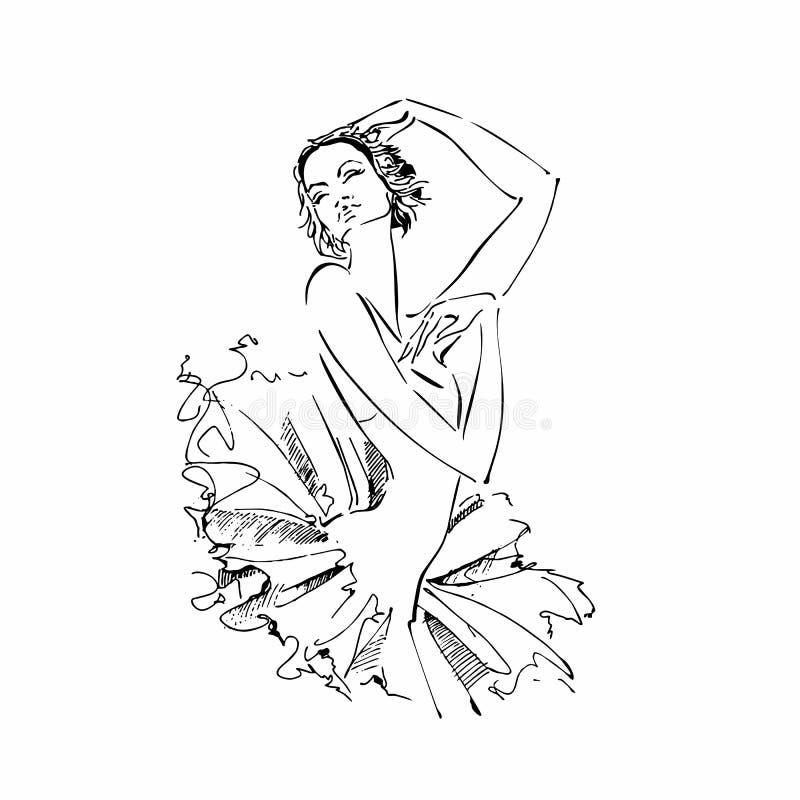 Balerina odette Biały łabędź balet taniec również zwrócić corel ilustracji wektora royalty ilustracja