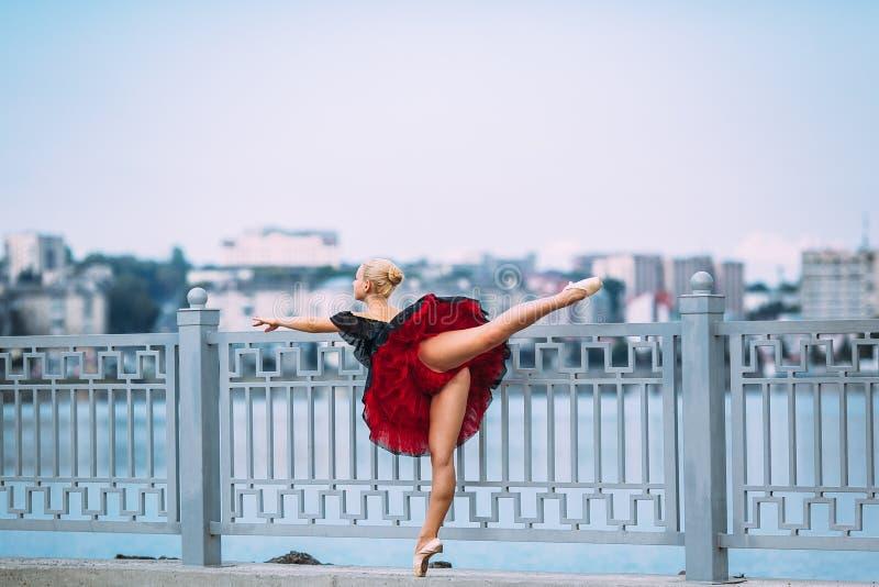 Balerina pozuje na tle jezioro obrazy royalty free