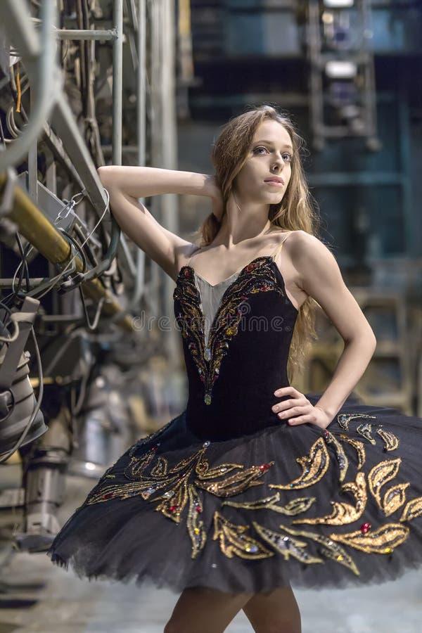 Balerina pozuje w wnętrzu zdjęcia royalty free