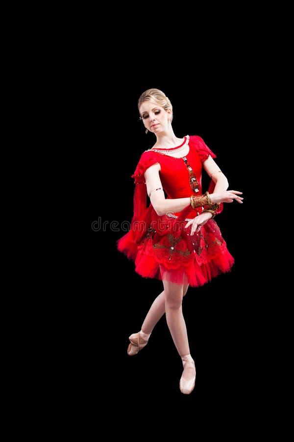 baleriny czerń odosobniona czerwona spódniczka baletnicy obrazy royalty free