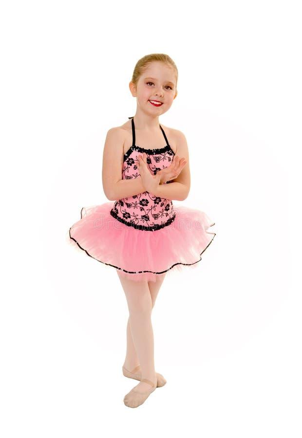 Baleriny dziecko w Różowej spódniczce baletnicy obraz stock