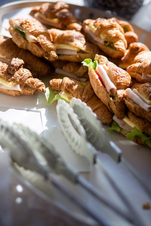 Baleronu Croissant serowa kanapka fotografia stock