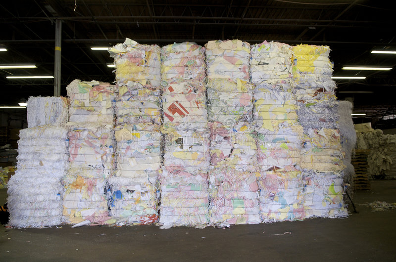 bales of paper for recycling stock photo