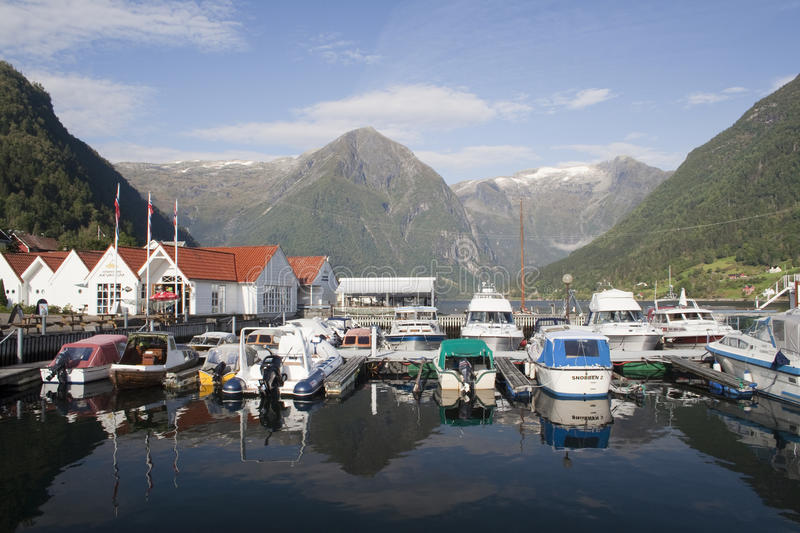 Balestrand, Norway, Sacndinavia. Boats moored at Balestrand, Norway, Scandinavia stock images