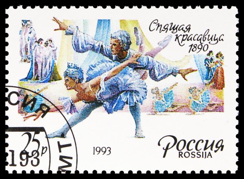 Balet 'ÅšpiÄ…ca piÄ™kność', 1890, Rosyjska Baletnica, okoÅ'o 1993 zdjęcie stock