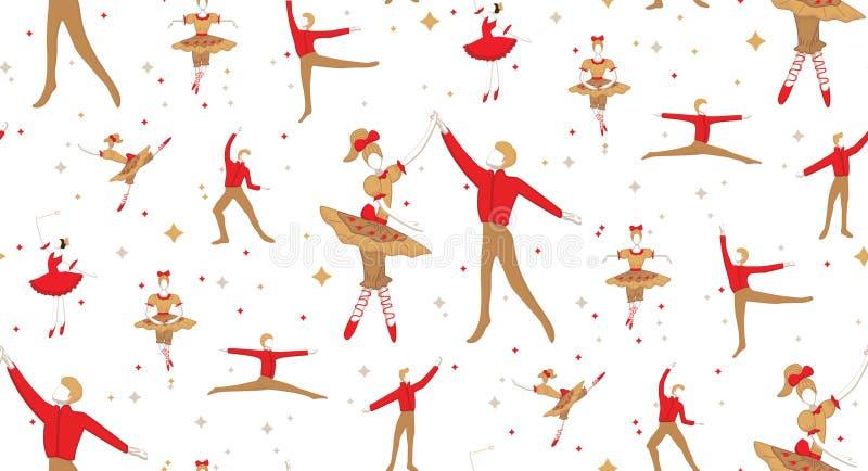Balet bez szwu z dziewczynami, chłopcami i gwiazdami uroczy royalty ilustracja
