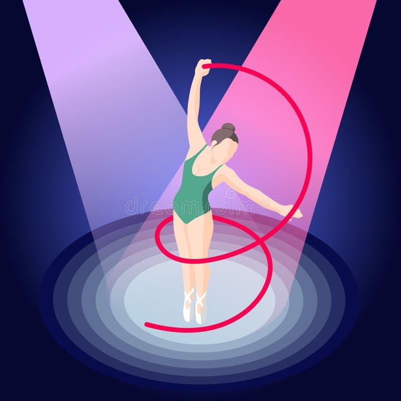Baleta I baleriny Isometric skład ilustracja wektor
