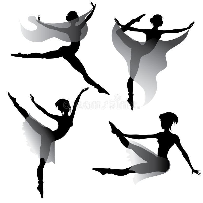 baletnicza dancingowa nowożytna ustalona kobieta ilustracja wektor