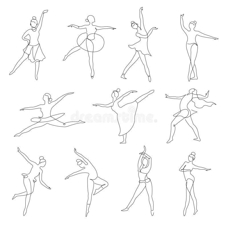 Baletniczy lub współczesny kontur odizolowywać tancerz ikony tanczy pozycje royalty ilustracja