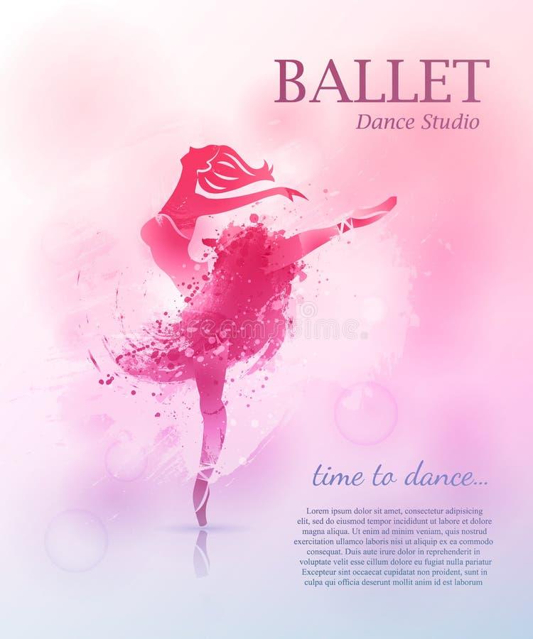 Baletniczy plakatowy projekt ilustracji