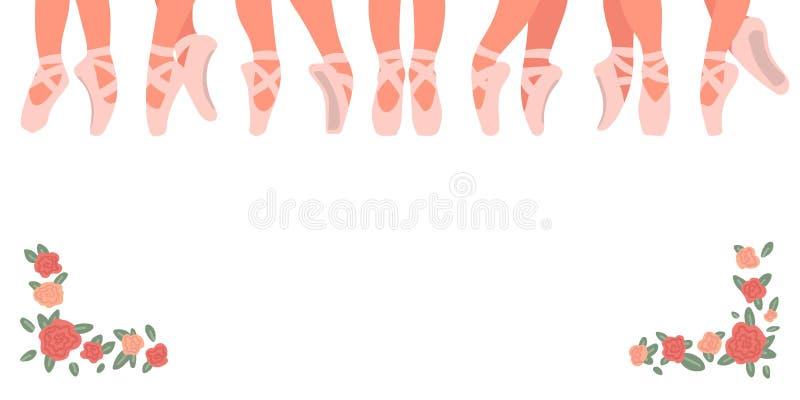 Baletniczy pointe buty odizolowywaj?cy na bia?y tle Tana baleta sztandar r?wnie? zwr?ci? corel ilustracji wektora royalty ilustracja