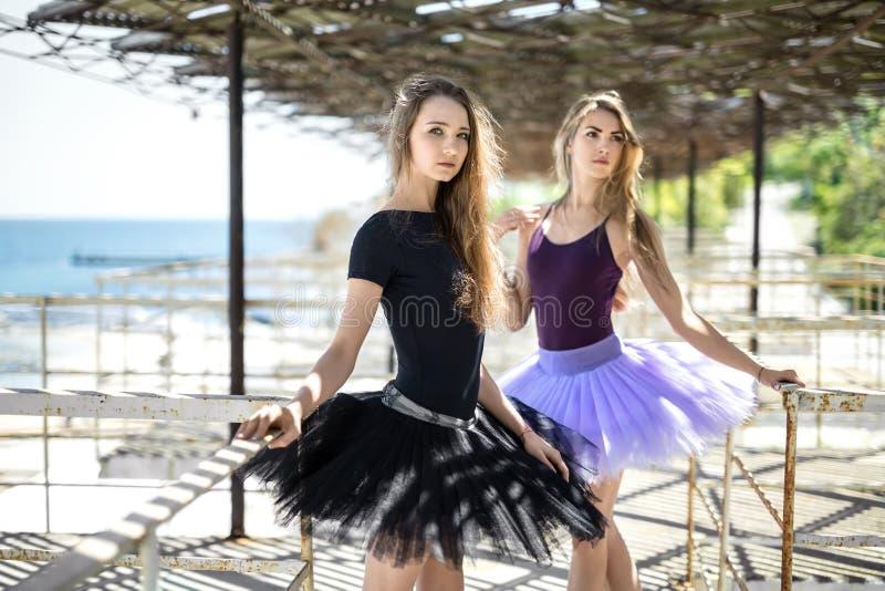 Baletniczy tancerze pozuje outdoors obraz royalty free