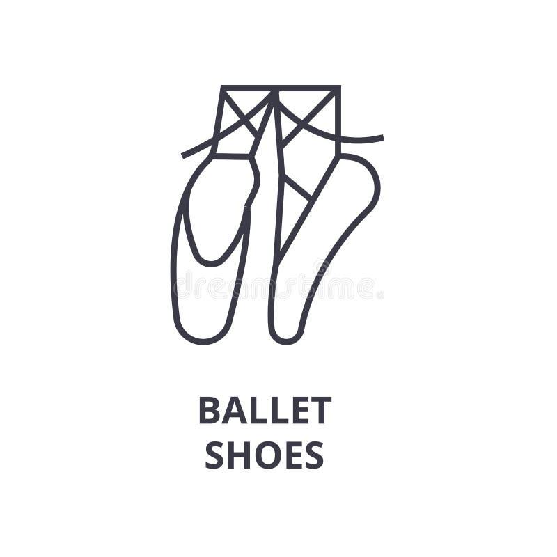 Baletniczych butów kreskowa ikona, konturu znak, liniowy symbol, wektor, płaska ilustracja ilustracja wektor