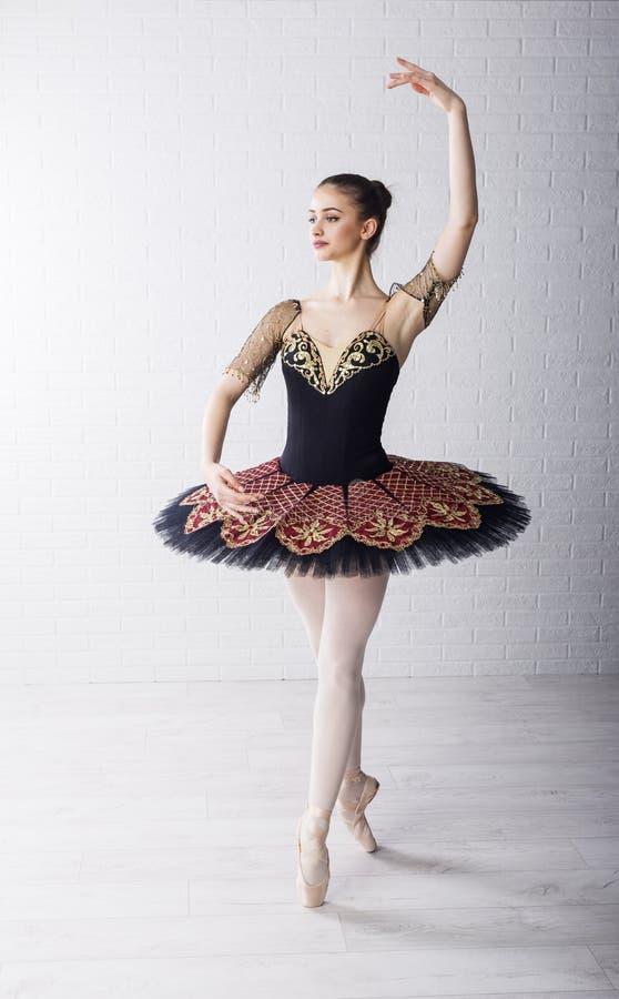 Balettdansör i härlig klänning arkivfoton