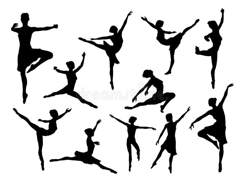 Balettdansör Silhouettes stock illustrationer