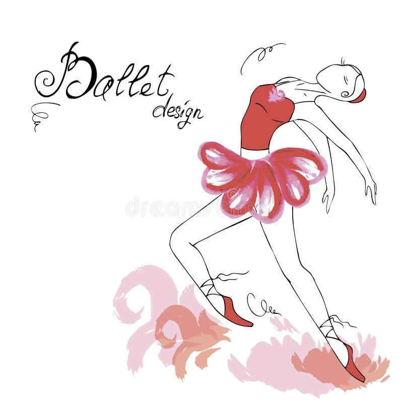 Balettdansör som drar i vattenfärgstil vektor illustrationer