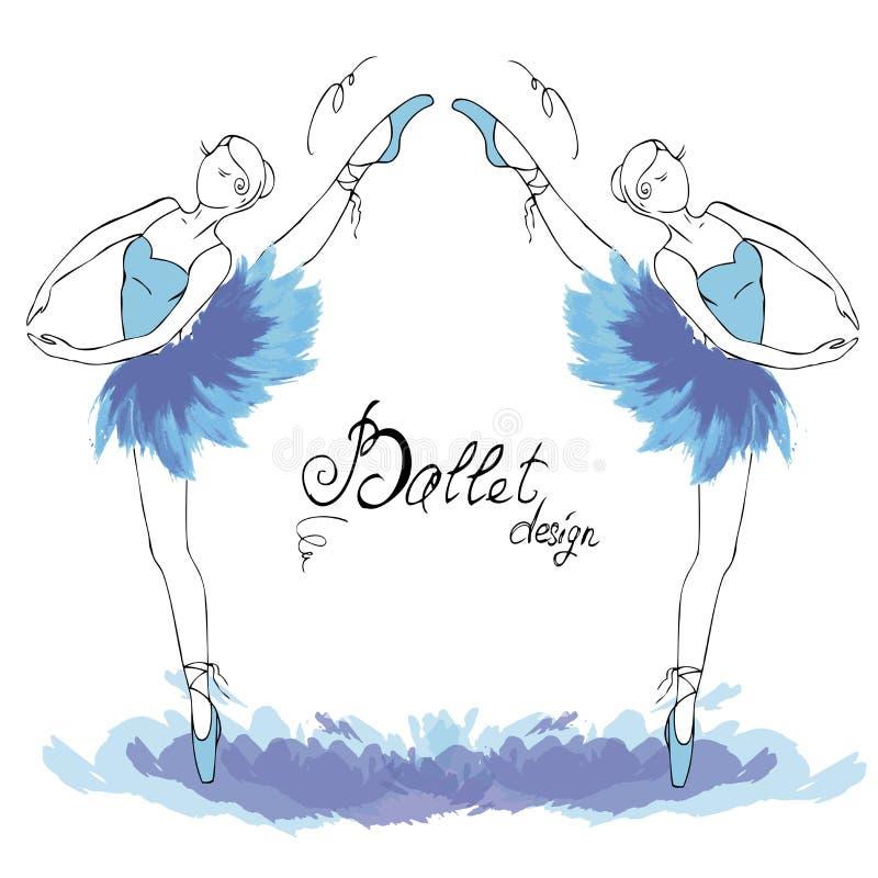 Balettdansör som drar i vattenfärgstil stock illustrationer