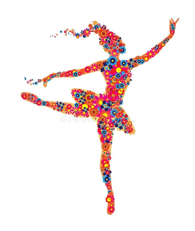 Balettdansör som komponeras av färgglade blommor fotografering för bildbyråer